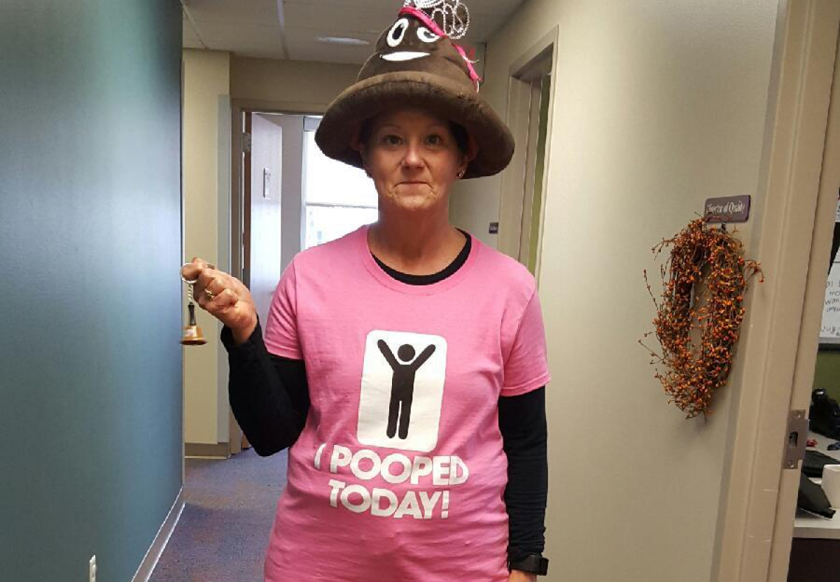 "Lanett Kane of Peoples Community Health Clinic in Waterloo is the resident ""Poop Queen"" of her health center."
